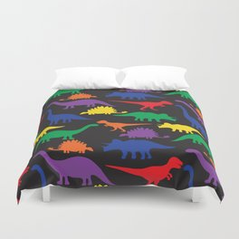 Dinosaurs - Black Duvet Cover