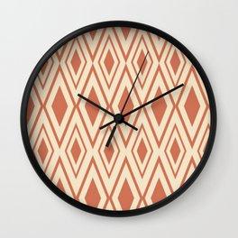 Checkered Pattern Rhombos Patterns Red Wall Clock