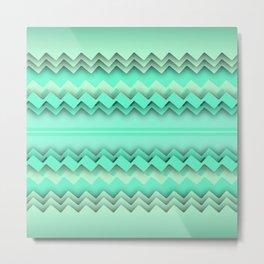 Mint paper zigzag Metal Print