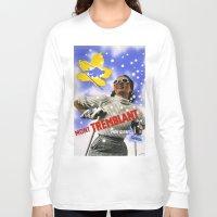skiing Long Sleeve T-shirts featuring CANADA/winter sports-skiing/vintage by Kathead Tarot/David Rivera