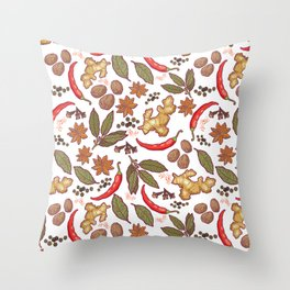 Spices pattern. Throw Pillow