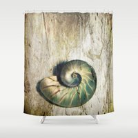shell Shower Curtains featuring Shell by KunstFabrik_StaticMovement Manu Jobst