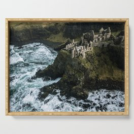 Castle ruin by the irish sea - Landscape Photography Serving Tray