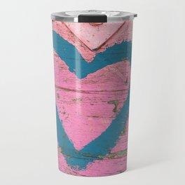 Blue heart on pink Travel Mug