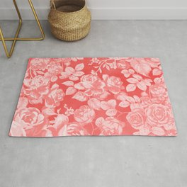 Living coral pink watercolor country chic floral Rug