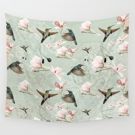 Vintage Watercolor hummingbird and Magnolia Flowers on mint Background Wall Tapestry