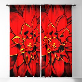 Dahlia rose in the darkness pattern Blackout Curtain