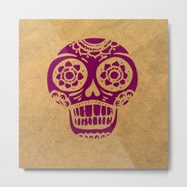 Inca Skull Cornsilk Darkviolet Metal Print