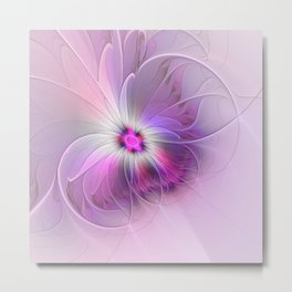 Abstract Flower With Pink And Purple Fractal Metal Print