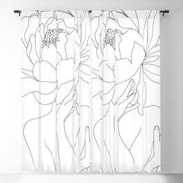 Minimal Line Art Woman Flower Head Blackout Curtain