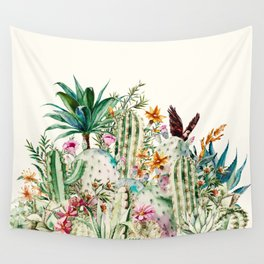 Blooming in the cactus Wall Tapestry
