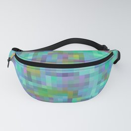 geometric square pixel pattern abstract in green blue pink Fanny Pack