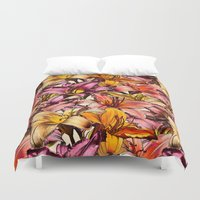bedding Duvet Covers featuring Daylily Drama - a floral illustration pattern by micklyn