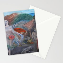 Islas Galápagos tropical paradise landscape nude portrait painting Stationery Cards
