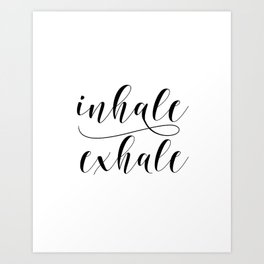 Inhale Exhale print, Black and white print, Gift For Her, Typography Print, Office Wall Art, Minimal Art Print