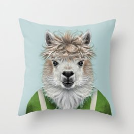 llama sheep portrait  Throw Pillow