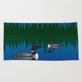 Loons in a Woodland Lake Beach Towel