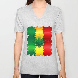 Cannabis Leaf on Rasta Colors Flag Unisex V-Neck