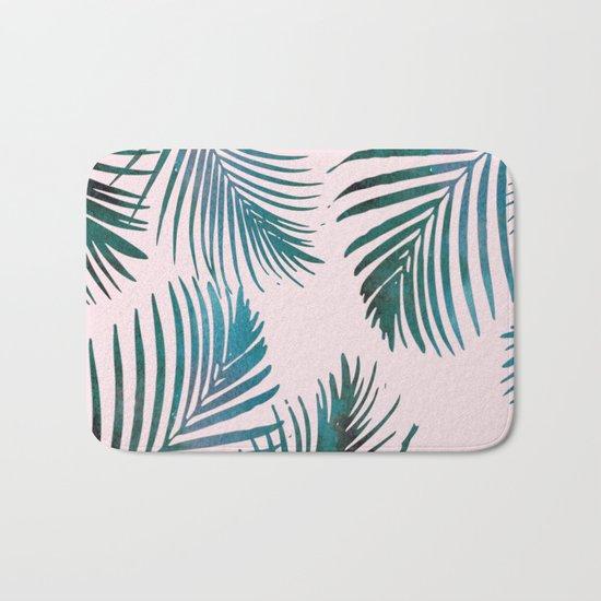 Green Palm Leaves on Light Pink Bath Mat
