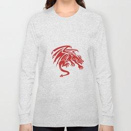 Dragon Gargoyle Crouching Silhouette Retro Long Sleeve T-shirt