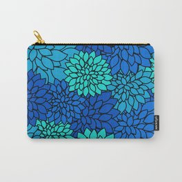 Floral Pattern - Shades of Blue Flower Patterns Carry-All Pouch