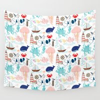 nautical Wall Tapestries featuring Nautical Doodles by Doucette Designs