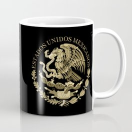Mexican flag seal in sepia tones on black bg Coffee Mug