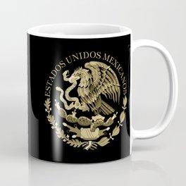Mexican flag seal in sepia tones on black bg Coffee Mug