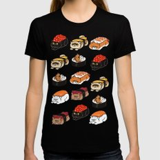 Sushi Persian Cat Black X-LARGE Womens Fitted Tee