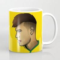brazil Mugs featuring Neymar Brazil by Dave Flanagan