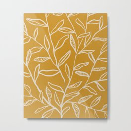 Yellow Patterned Leaves Metal Print