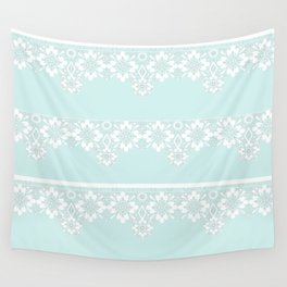 White lace on mint background Wall Tapestry