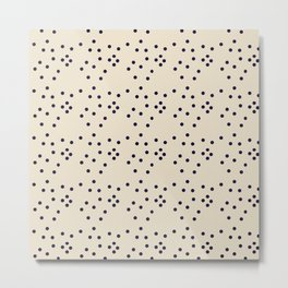 Geometrical black ivory abstract polka dots Metal Print