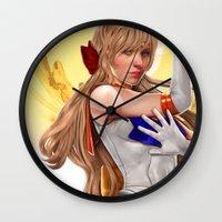 sailor venus Wall Clocks featuring Sailor Venus by KlsteeleArt