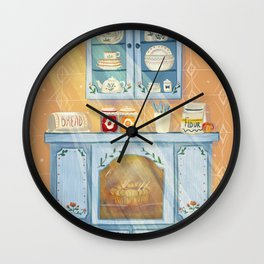 Kitchen cupboard on a sunny day Wall Clock