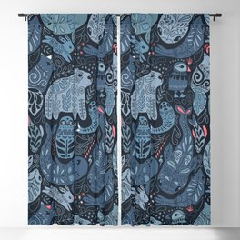 Arctic animals. Polar bear, narwhal, seal, fox, puffin, whale Blackout Curtain