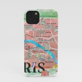 Paris France City Of Love Illustrated Travel Poster Favorite Map Tourist Highlights iPhone Case