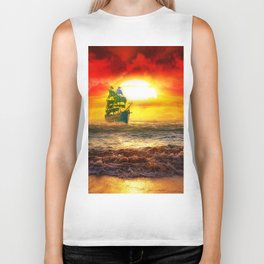 Black Pearl Pirate Ship Biker Tank