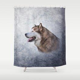Drawing Dog Alaskan Malamute 5 Shower Curtain