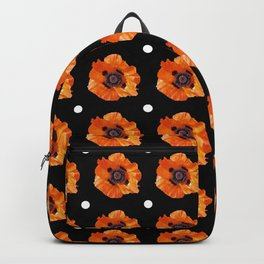Orange Poppy Pattern Backpack