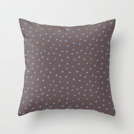 Mudcloth Polka Dots in Mud + Dusty Blue Throw Pillow
