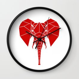 RED Elphant Wall Clock
