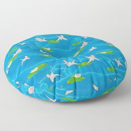 Paper cranes in a pond origami Floor Pillow