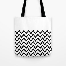 Black Chevron On White Tote Bag