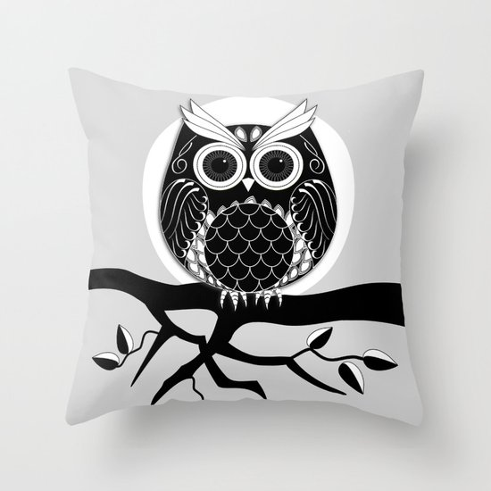 Graphic vector owl on branch in B&W Throw Pillow by Thea Walstra Society6