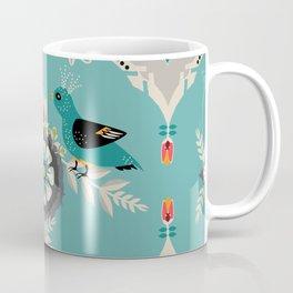 Scandi Bird Floral Turquoise Coffee Mug