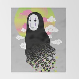 No Face and Soot Sprites Throw Blanket