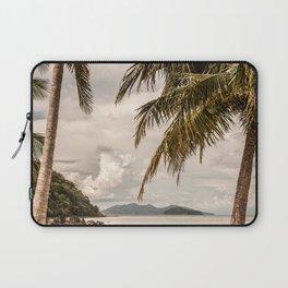 Beach theme, palm trees on tropical island Laptop Sleeve
