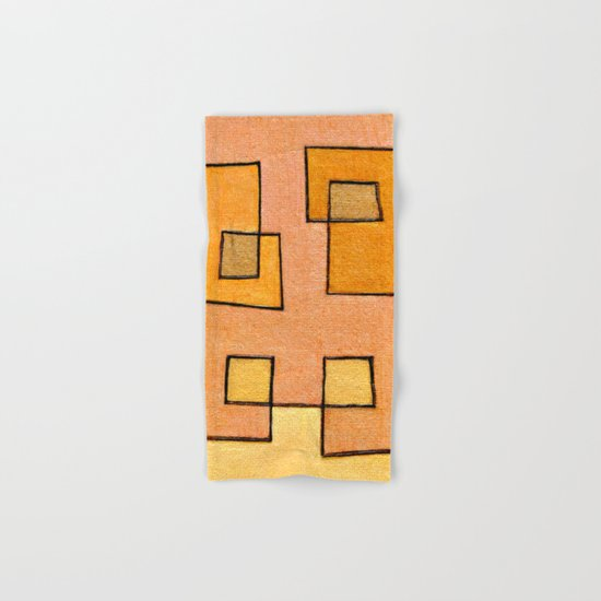 Protoglifo 04 'yellow hugging pink' Hand & Bath Towel