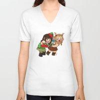 fili V-neck T-shirts featuring Holiday Fili and Kili by Hattie Hedgehog